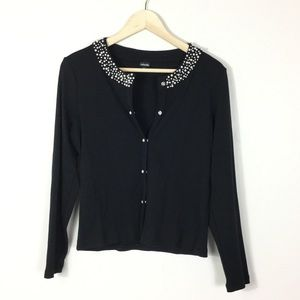 Pearl collar snap button cardigan M